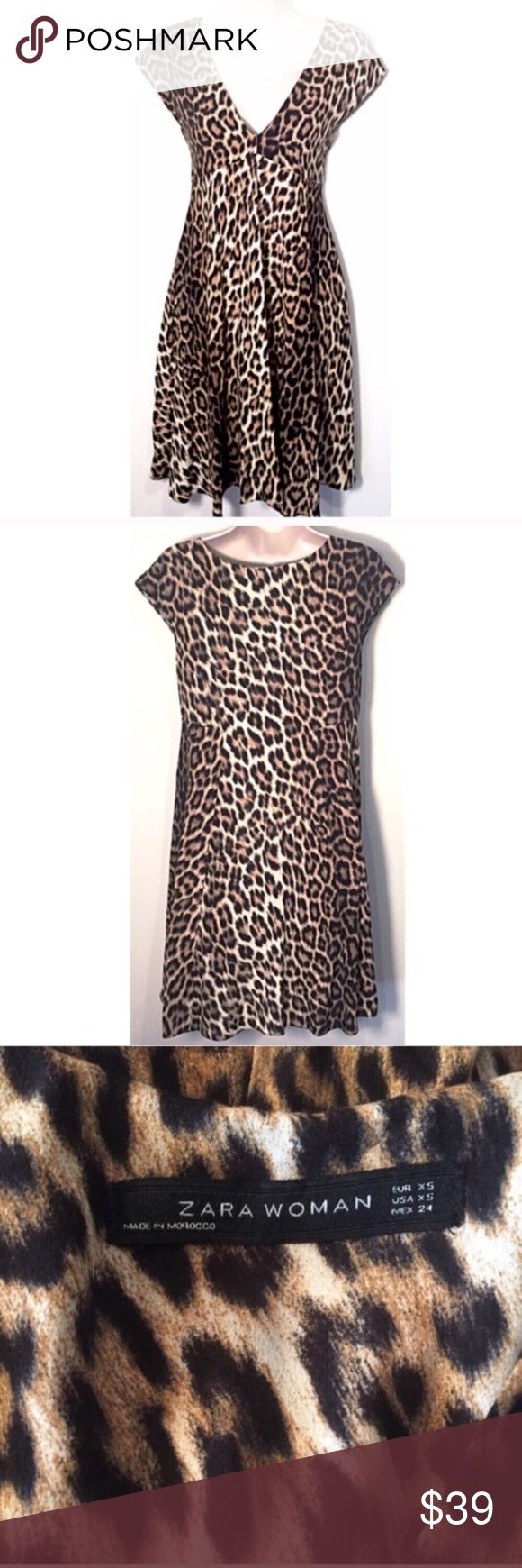 "❣BOGO 1/2 off❣🆕 Zara leopard print mini dress xs Flawless/like-new condition. Leopard animal print mini sheath dress. 100% lightweight viscose, no stretch. Fully lined bust. Extra small. Measures 35"" long, 17"" flat across bust, & 22"" flat across waist. Dry clean. Last photo shown for fit. ❣Ask me how to BOGO HALF price! ✖️I do NOT MODEL✖️ 🔴Bundle to save! 🔴NO TRADES. 🔴REASONABLE offers welcome via offer button. 🔴Smoke-free home. Fast shipping! Zara Dresses Mini"