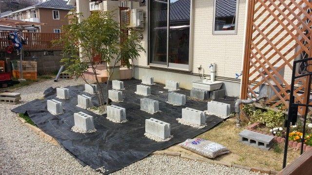 DIYの基礎となるブロックを置き終えた後