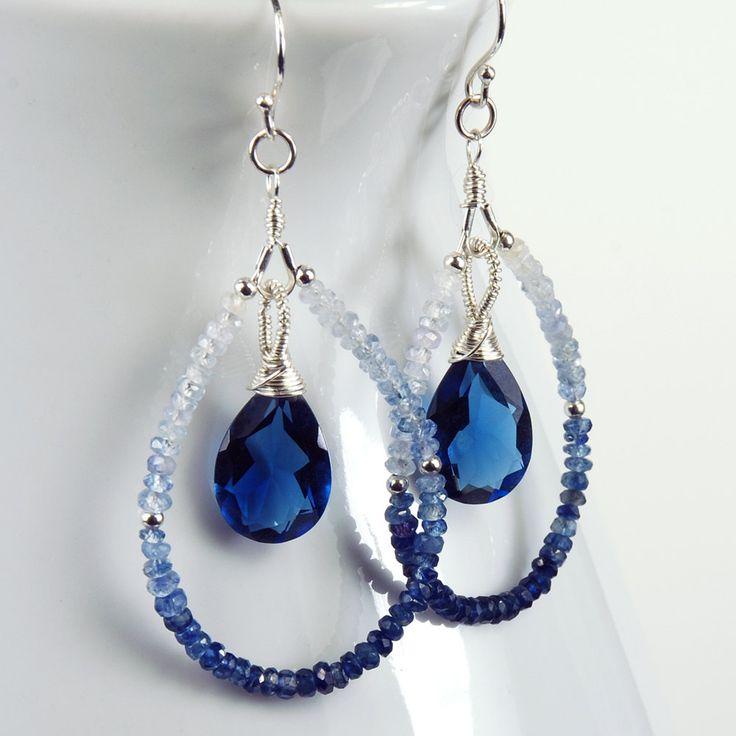Shaded  Blue Sapphire, Kashmir Blue Quartz and Sterling Silver Teardrop Earrings, Gemstone Earrings,  September Birthstone Earrings