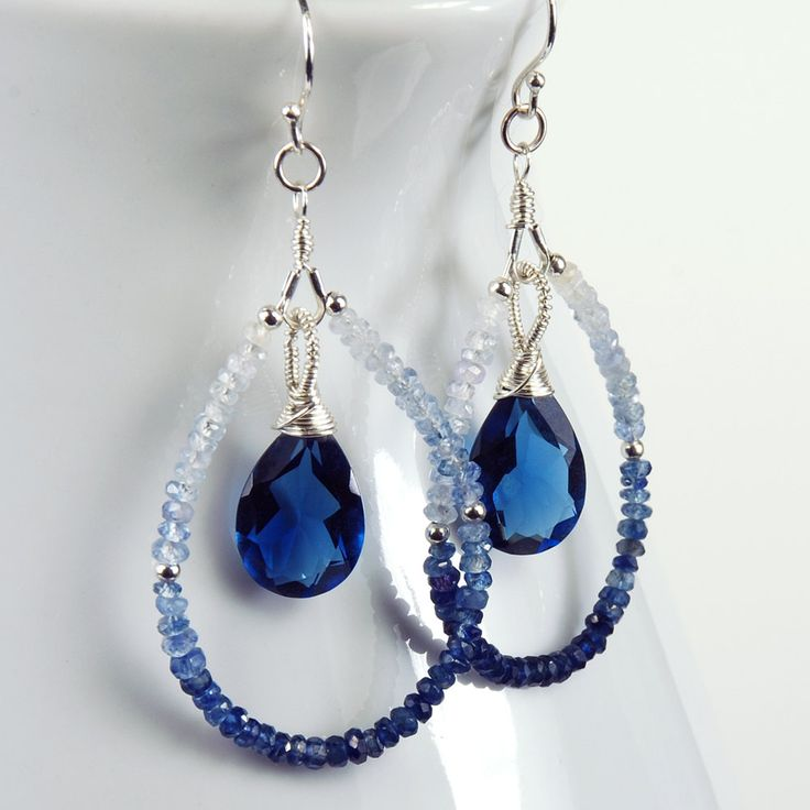 Shaded  Blue Sapphire, Kashmir Blue Quartz and Sterling Silver Teardrop Earrings, Gemstone Earrings,  September Birthstone Earrings