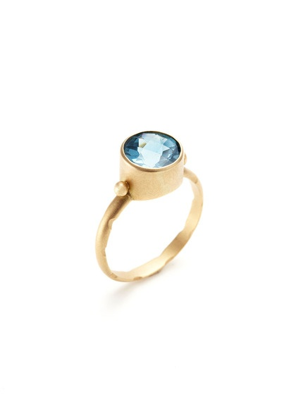 Whitney Stern  Gold & London Blue Topaz Stackable Ring
