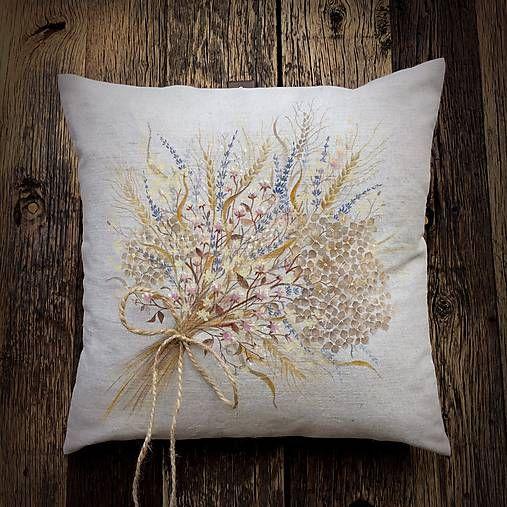 Veldi / Sušená kytica na plátne - ručná maľba textilnými farbami 50x50cm