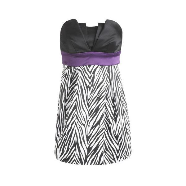 Zebra Print Tulip Dress - Teen Clothing by Wet Seal ($55) ❤ liked on Polyvore