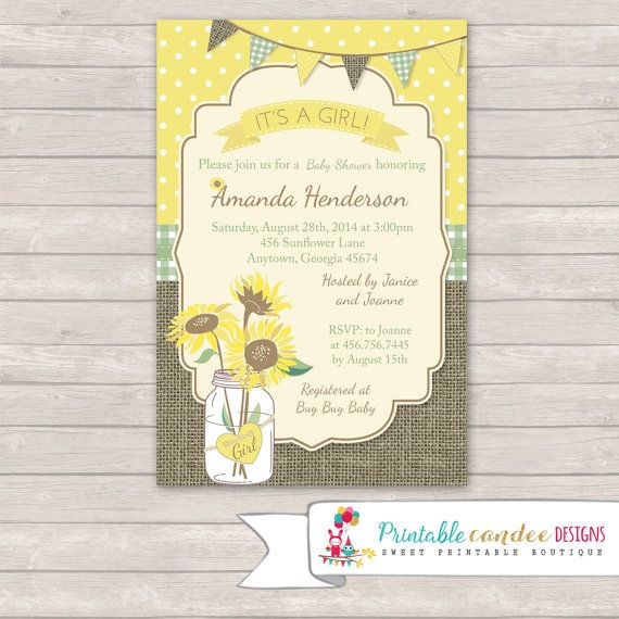 Rustic Sunflower Baby Shower Invitation by printablecandee
