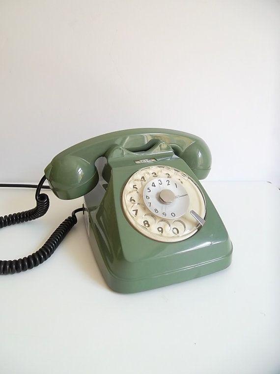 Vintage rotary phone Green dial phone retro phone by BravaVintage, $50.00
