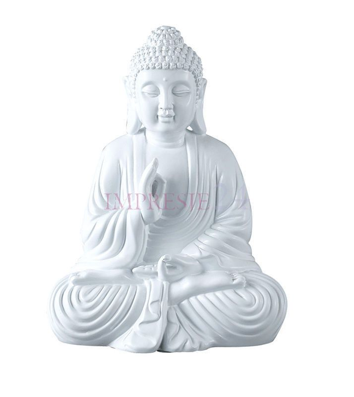 Figurka Buddy | Figurines of Buddha #figurka #budda #biała #dodatki #wnętrza #salon #wystrój #stylowe #figurines #buddha #white #accessories #interior #living_room #stylish