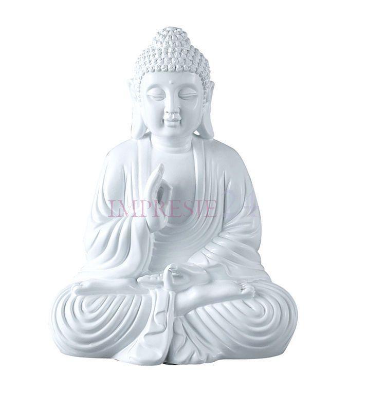 Figurka Buddy   Figurines of Buddha #figurka #budda #biała #dodatki #wnętrza #salon #wystrój #stylowe #figurines #buddha #white #accessories #interior #living_room #stylish