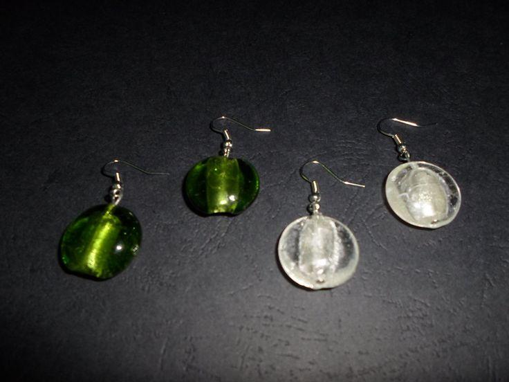 S A L E !!! Glass earrings. Dangle glass earrings. White / green earrings. by SiDaStyle on Etsy