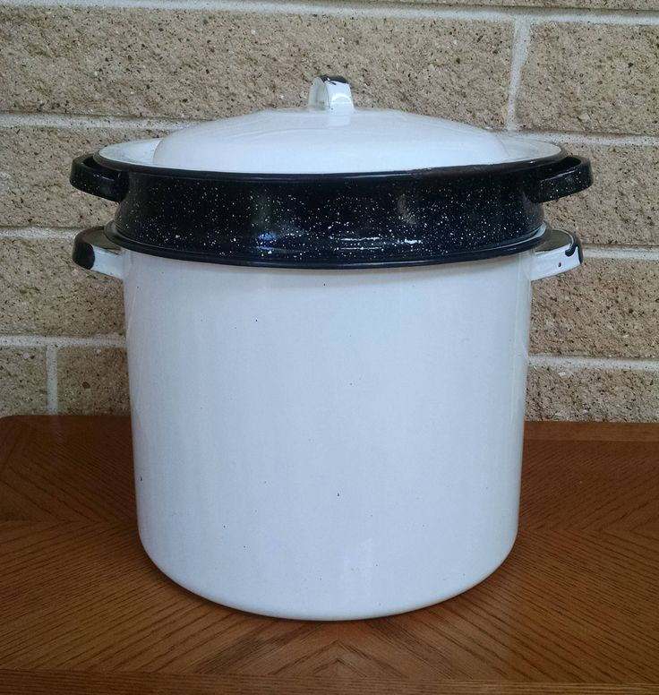 Enamelware Steamer Basket / Stock Pot - Black and White  with Basket - Vintage Cookware  Kitchen - Soup Pot - Country Cottage - 6 Quart by ClassyVintageGlass on Etsy
