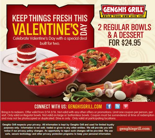 image regarding Genghis Grill Coupons Printable referred to as Genghis grill coupon : Kanita scorching springs oregon