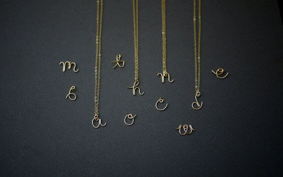 Little golden letters in delicate cursive ... so pretty!