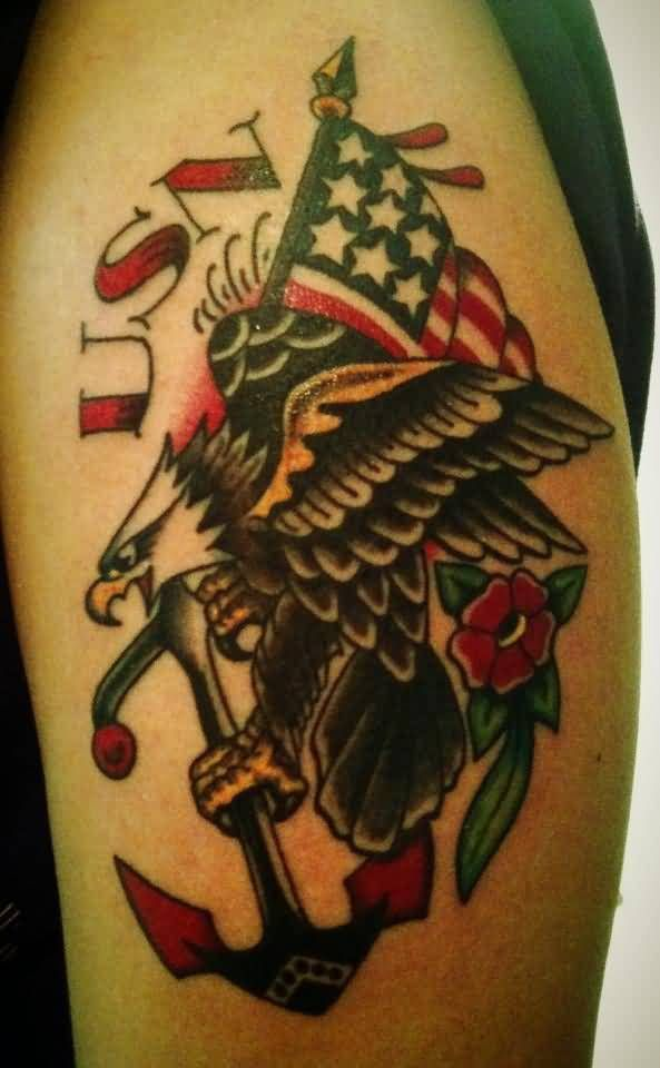 Angry Flying Eagle Hold Anchor Us Navy Text Tattoo On Left Shoulder