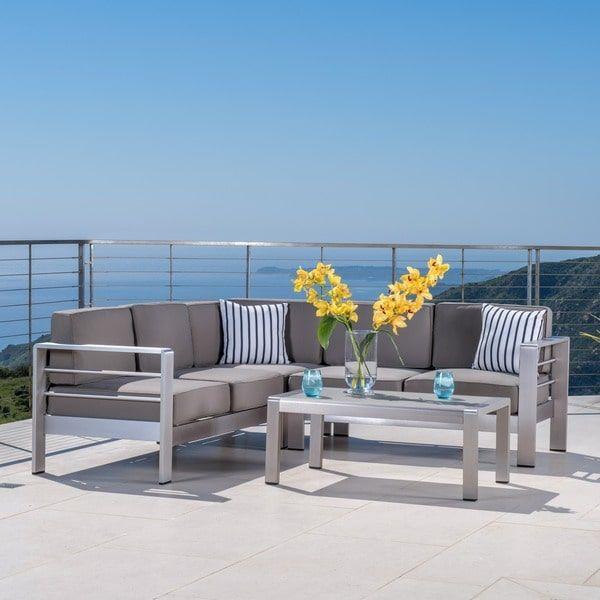 Cape Coral Outdoor Aluminum 4 Piece Sofa Set With Cushions By Christopher  Knight Home (Silver), Size 4 Piece Sets, Patio Furniture
