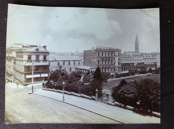 Photograph showing the exterior of the Picturesque Atlas of Australia offices on Wynyard Square. Probably taken by A.K. Syer, 1886?