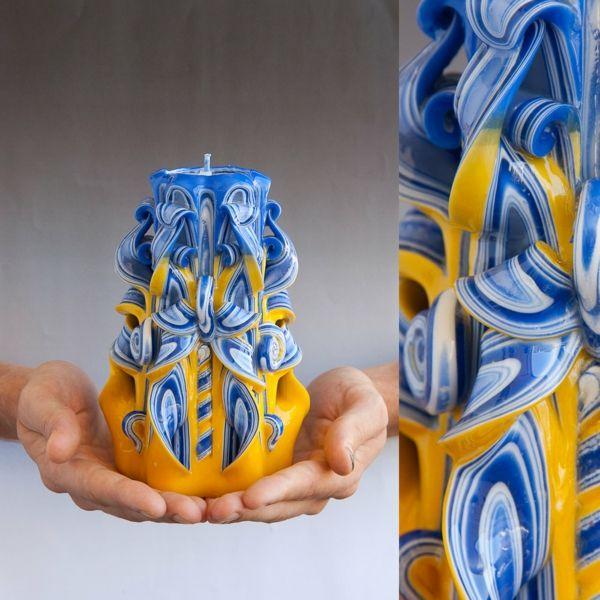 kerzen selber machen geschnitzte kerze blau gelb