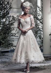 Off-the-shoulder Half Sleeve V-neck Tea Length A-line Lace Wedding Dress