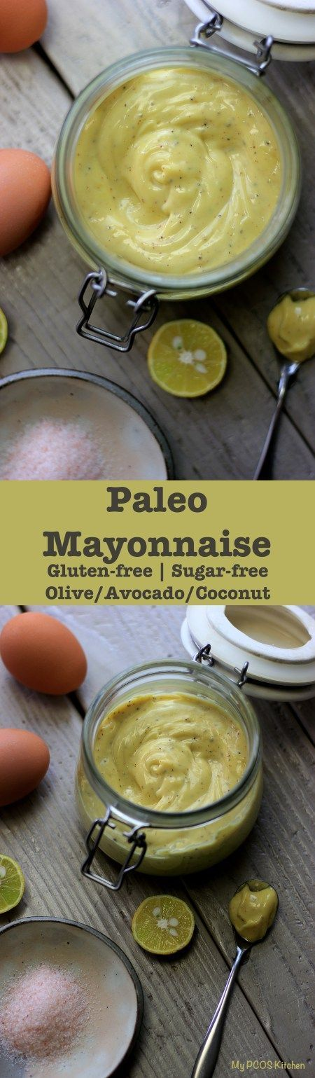 My PCOS Kitchen - Paleo Avocado Mayonnaise. Different kinds of mayonnaise that uses healthy oils like avocado, olive and coconut. via @mypcoskitchen