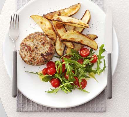 Italian pork patties with potato wedges   BBC Good Food