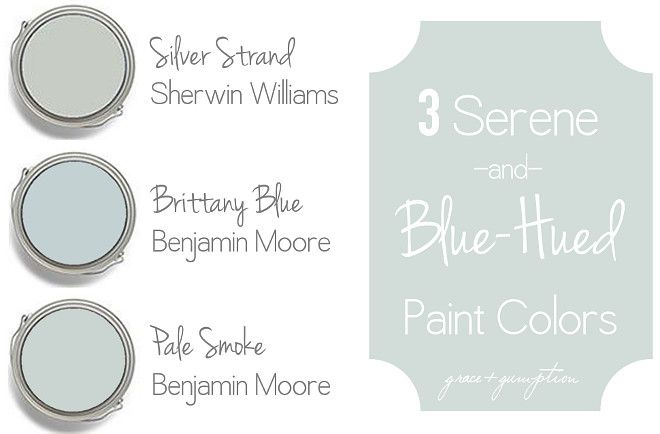Serene Coastal Blue Paint Colors: Sherwin Williams Silver Strand. Benjamin Moore Brittany Blue. Benjamin Moore Pale Smoke. #shadesofbluepaintcolours