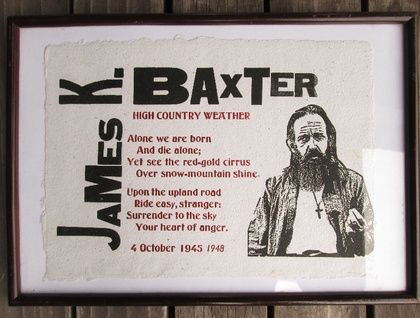 JAMES K. BAXTER: High Country Weather - letterpressed on handmade paper
