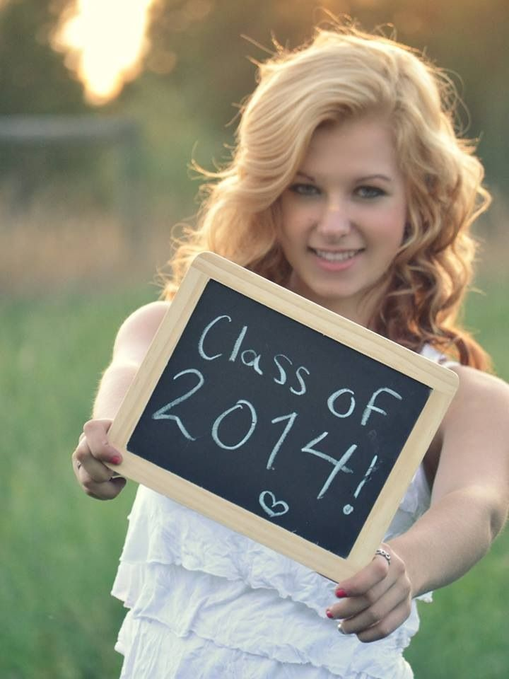 Senior picture with chalk board  2014 senior picture