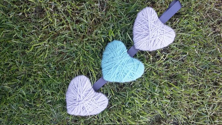 Hanging hearts trio, grey and teal by ThinkSleepy on Etsy