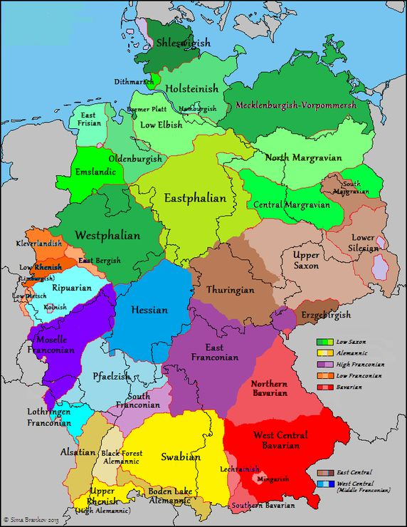 German dialects in Germany, France and Belgium.