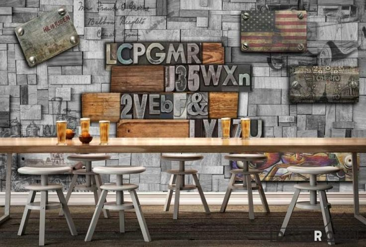 Metal Wall 3D Typographic Letters Usa Flag Restaurant Art Wall Murals Wallpaper Decals Prints Decor