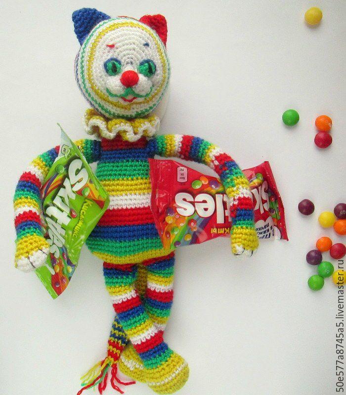 Купить Кот радужный . Вязаная игрушка - вязаная игрушка, игрушка крючком, Вязание крючком