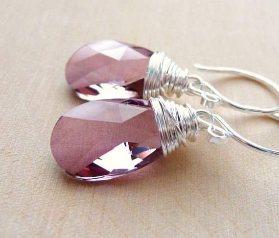 Pink Swarovski Crystal Dangle Earrings, Antique Pink Swarovski Crystal Briolette Drops, Sterling Silver, Wire Wrapped, Under 25 on Etsy, $22.00