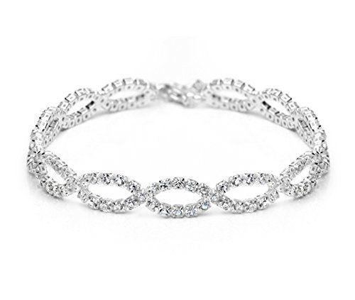 Neoglory Elegante Pulsera Brazalete de Plata Brillantes Rhinestones Blancos Joya Original Regalos para Mujer http://amzn.to/2isDz5q