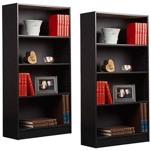 Orion 4-Shelf Bookcases, Set of 2. Behind the nail able at each side for nail supplies and style books