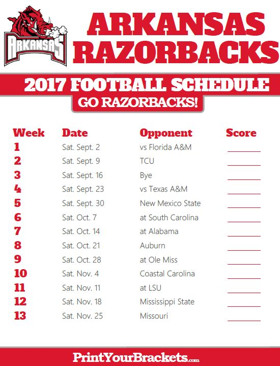 Printable Arkansas Razorbacks Football Schedule