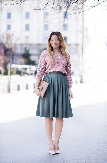 Get this look: http://lb.nu/look/8106586  More looks by Andreea  Ristea: http://lb.nu/andreearistea  Items in this look:  Sheinside Roses Pale Pink Blouse   #elegant #romantic #vintage #skirt #military #green #midi #roses #powdery