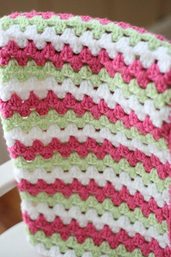 Crochet Pattern For Granny Stripe Baby Blanket : Crocheted Baby Blanket Granny Stripe Baby by ...