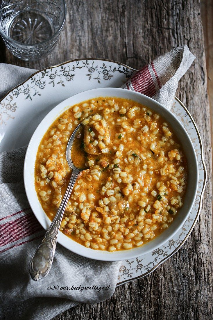 Pumpkin, porcini mushrooms and barley soup | Miss Becky's Cottage  An exquisite soup to wish you a happy Thanksgiving day!!!  #soup #food #Thanksgiving #ThanksgivingDay #pumpkin #comfortfood #barley #mushrooms