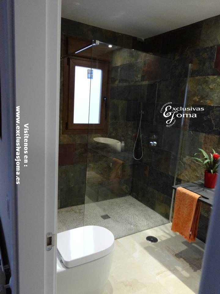 Baños Duchas Gresite:de baño con cerámica imitación piedra, plato de ducha de gresite