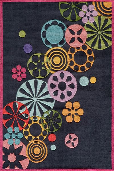 Lil Mo Hipster LMT-08 Black Area Rug by Momeni - Childrens Rugs - momeni-lilmohipster-lmt08blk