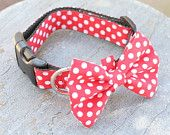 Dog Collar or Martingale with Bow Tie - Red Polka Dots