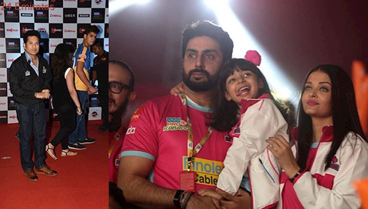 Abhishek, Aishwarya and Sachin Tendulkar at Pro Kabaddi League match