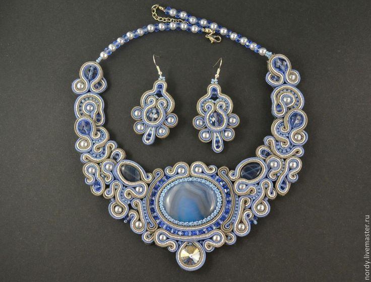"""Сутажный комплект """"Belle"""" - серый,голубой,синий,джинсовый,Кристаллы swarovski"""