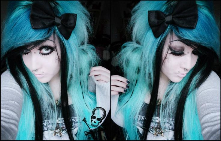 Blue emo scene hair girl with pigtails