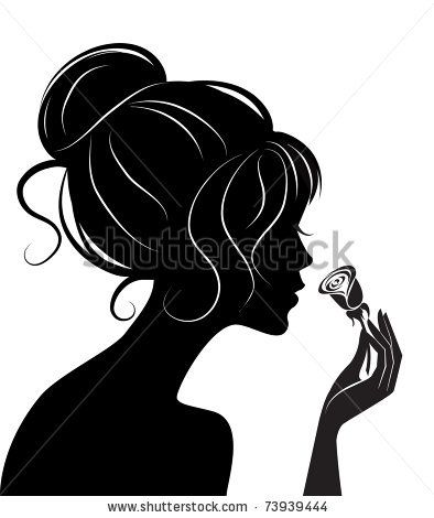 beauty girl silhouette with rose by De-V, via Shutterstock