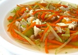 Forty Carrots Chicken Soup at Bloomingdales NYC. This NEW soup is really yummy. I love their soup and created a recipe to make at home. It's full of chicken, carrots, celery and broccoli slaw instead of noodles. Each 2 cup serving has only 148 calories, 1 g fat and 3 Weight Watchers POINTS PLUS. http://www.skinnykitchen.com/recipes/forty-carrots-chicken-soup-at-bloomingdales-nyc/