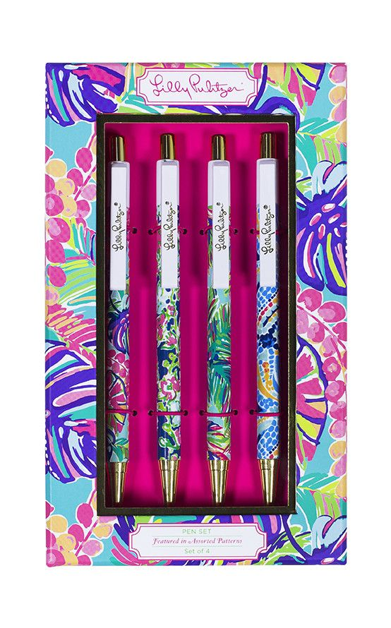 Lilly Pulitzer Pen Set-Assorted Patterns with Gold Accent