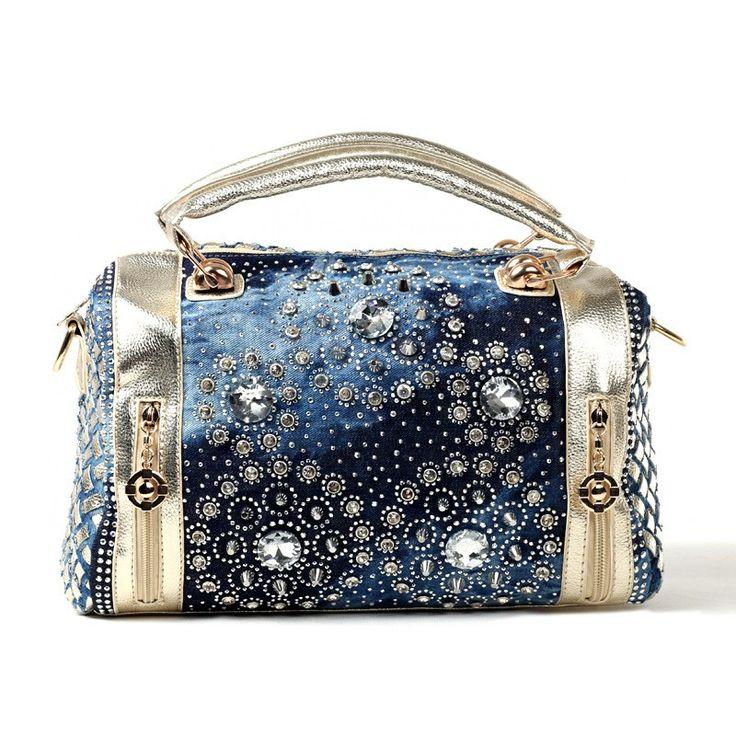 Denim gif Diamond Fashion style shoulder bag, Factory Price, Worldwide Free Shipping!