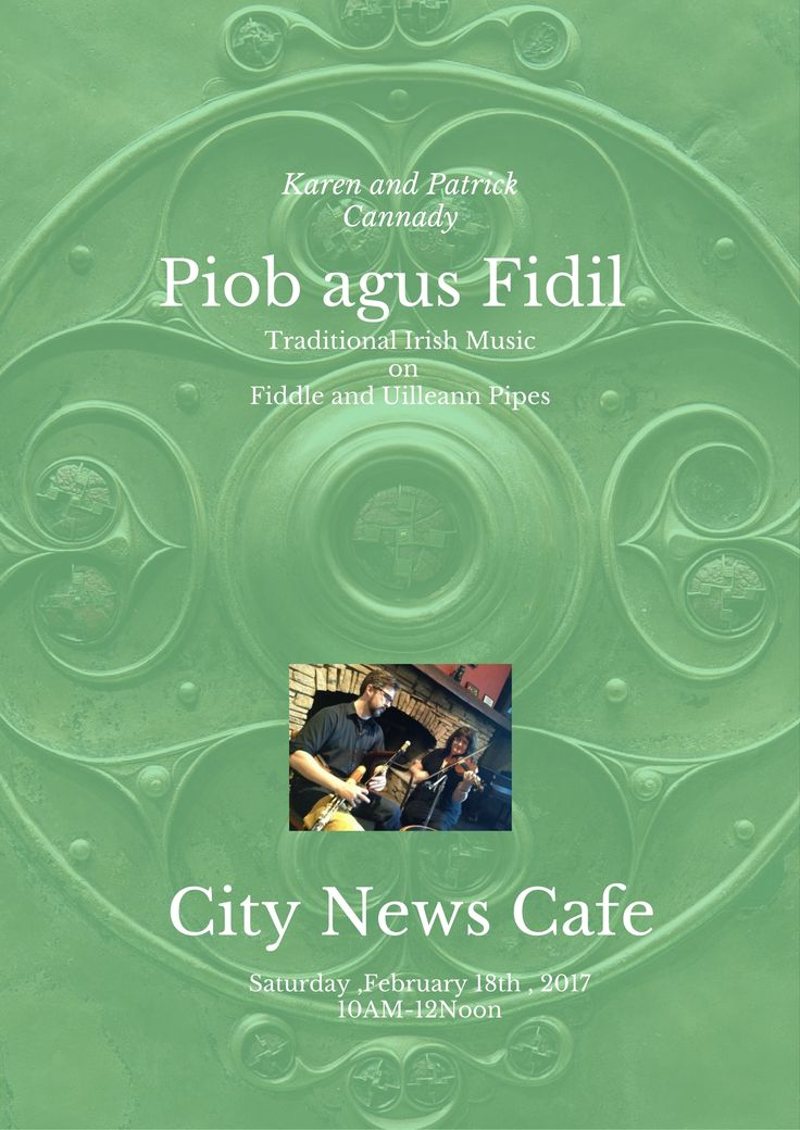 February 18th Saturday 10a-12p @citynewschicago #irishmusic uilleann pipes and fiddle on a Saturday morning! Come on by for their great coffee, pastries and truffles!