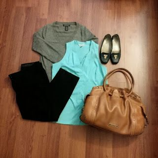 #ootd - black pants, mint green blouse, gray sweater, brown tote, navy flats