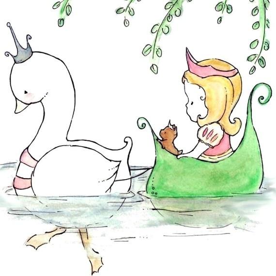 Nursery Art Print for Baby and Children Swan by trafalgarssquare, $10.00