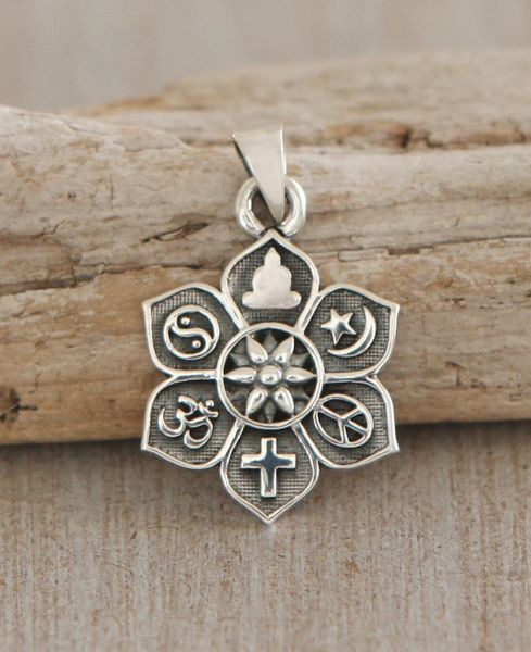 Coexist Sterling Silver Lotus Pendant